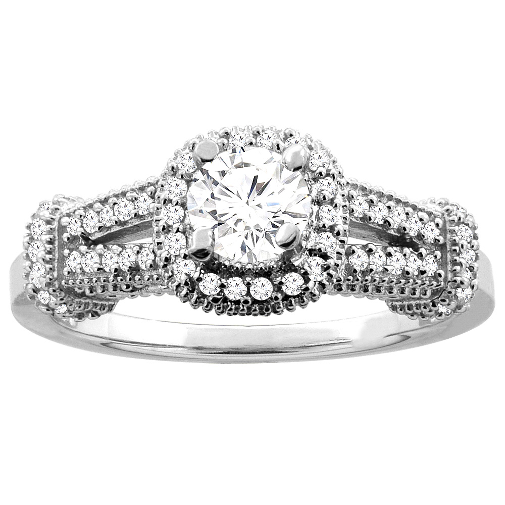 10K White Gold 0.70 cttw Diamond Halo Engagement Ring, sizes 5 - 10