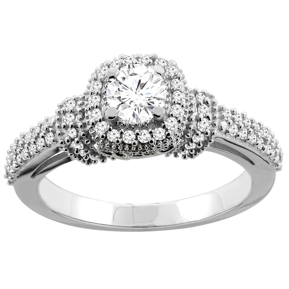 10K Gold 0.76 cttw Round Diamond Halo Engagement Ring, sizes 5 - 10
