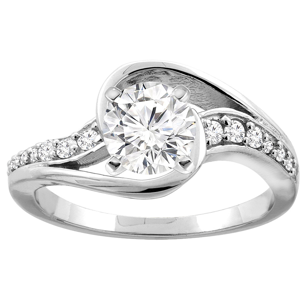 10K White/Yellow Gold Bypass Diamond Engagement Ring Round 0.64cttw., sizes 5 - 10