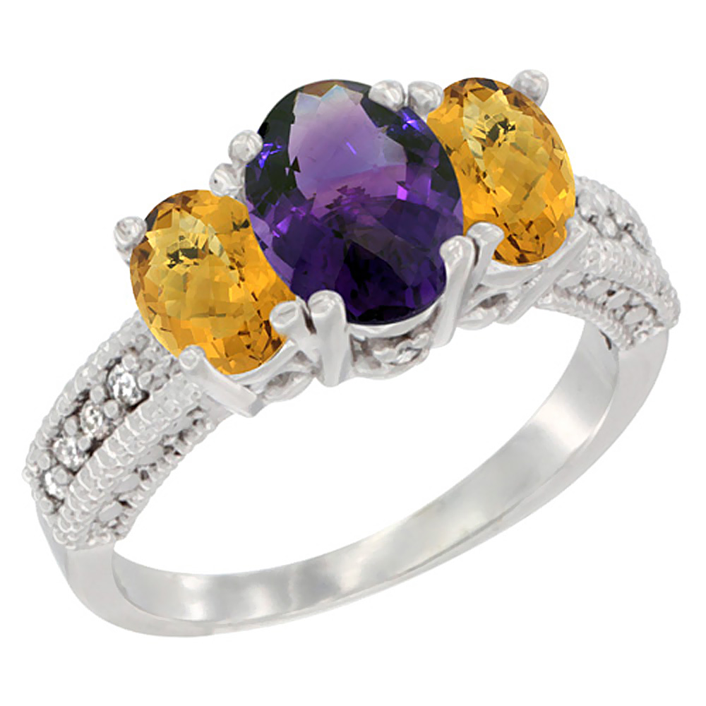 14k White Gold Ladies Oval Natural Amethyst 3-Stone Ring with Whisky Quartz Sides Diamond Accent