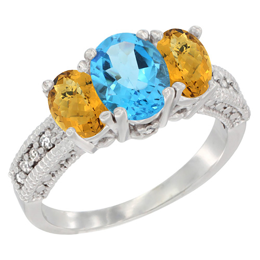 14k Yellow Gold Ladies Oval Natural Swiss Blue Topaz 3-Stone Ring with Whisky Quartz Sides Diamond Accent