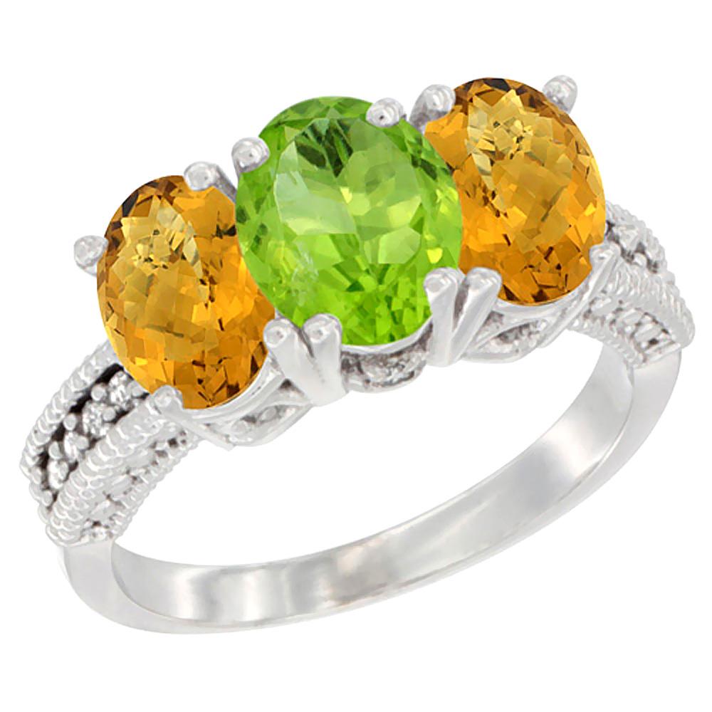 10K White Gold Diamond Natural Peridot & Whisky Quartz Ring 3-Stone 7x5 mm Oval, sizes 5 - 10