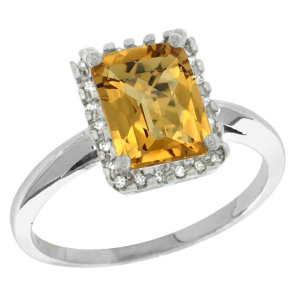 14K White Gold Diamond Natural Whisky Quartz Ring Emerald-cut 8x6mm, sizes 5-10