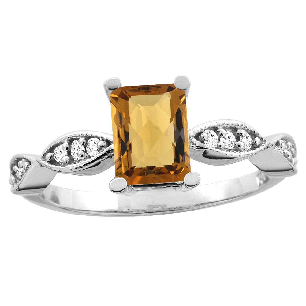 14K White/Yellow Gold Natural Whisky Quartz Ring Octagon 8x6mm Diamond Accent, sizes 5 - 10