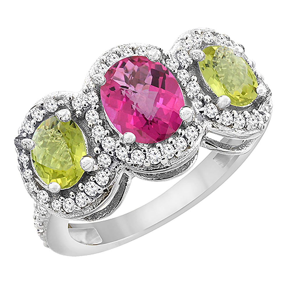 14K White Gold Natural Pink Sapphire & Lemon Quartz 3-Stone Ring Oval Diamond Accent, sizes 5 - 10
