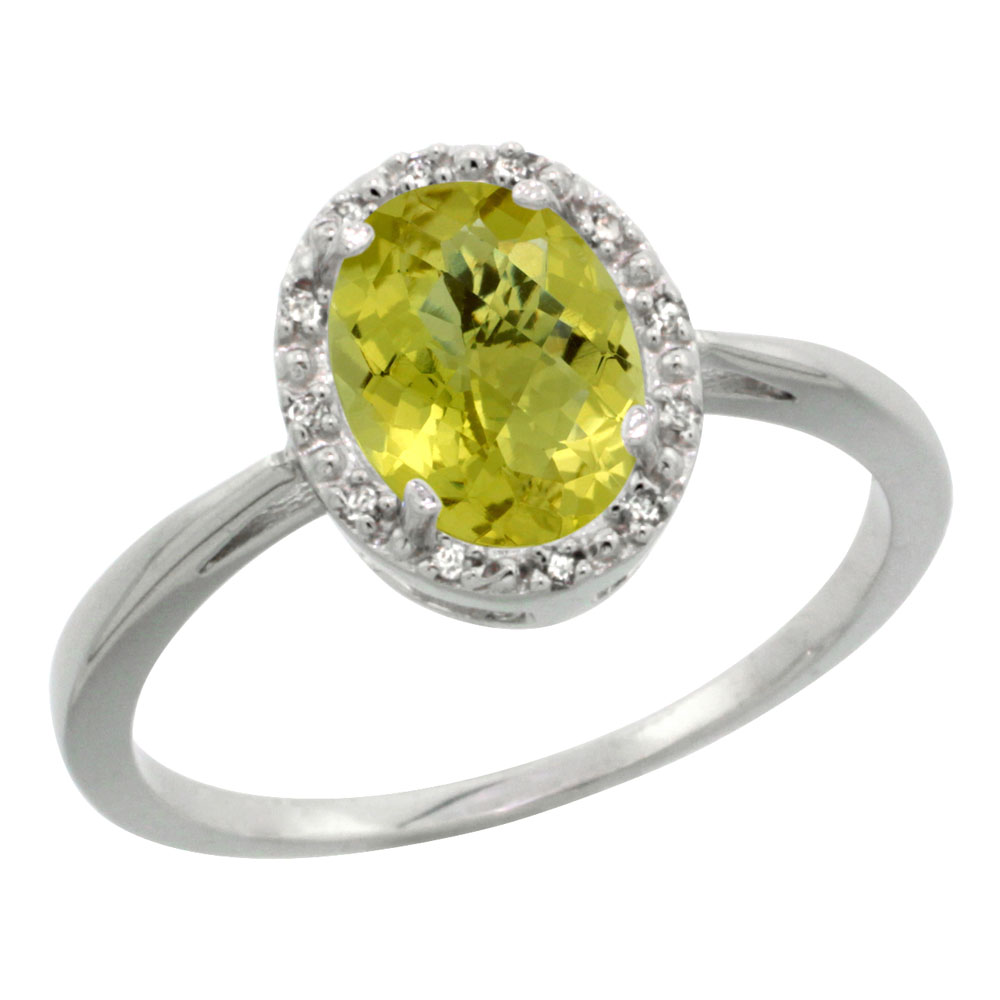 14K White Gold Natural Lemon Quartz Diamond Halo Ring Oval 8X6mm, sizes 5 10