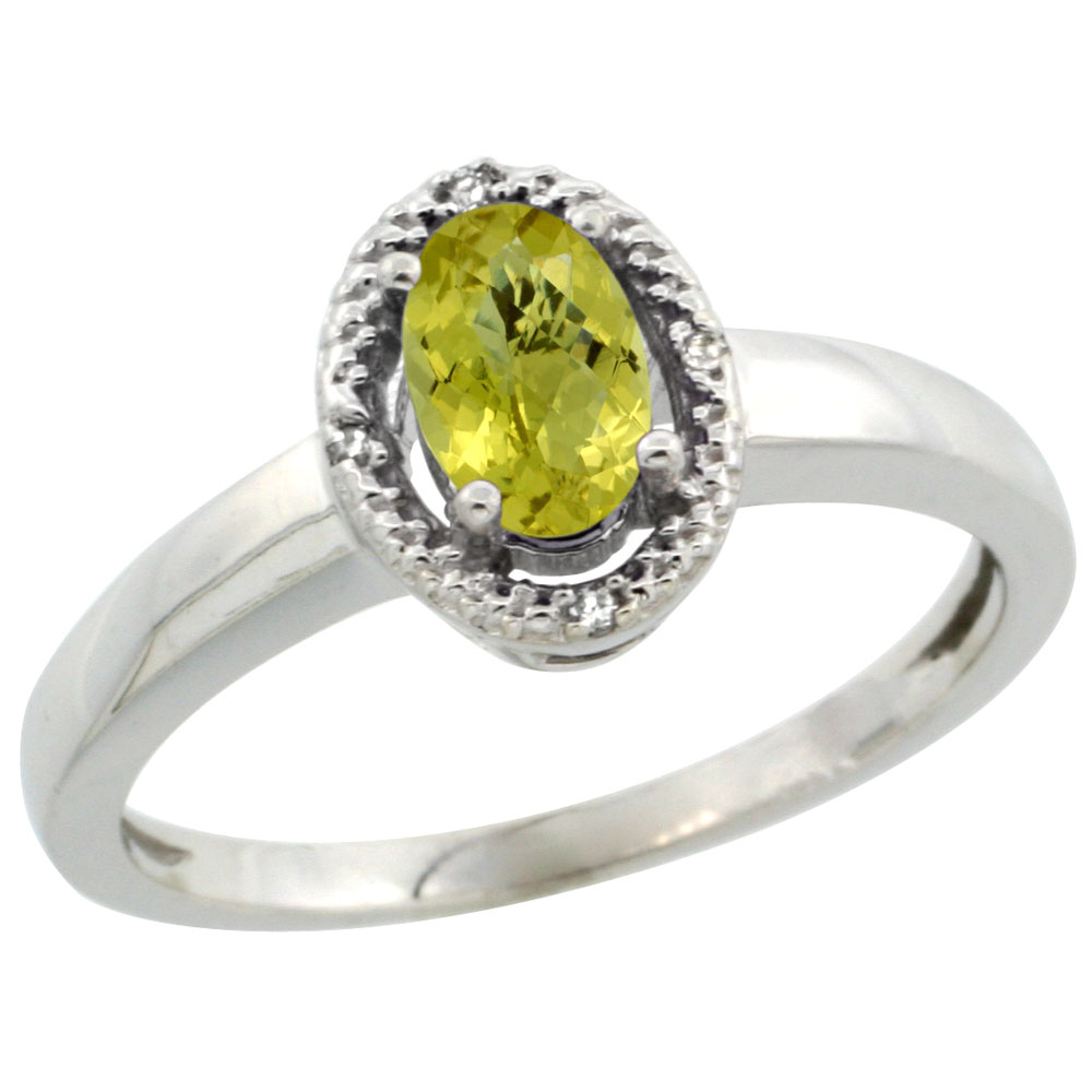14K White Gold Diamond Halo Natural Lemon Quartz Engagement Ring Oval 6X4 mm, sizes 5-10
