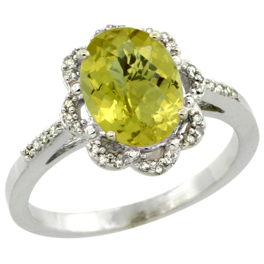 10K White Gold Diamond Halo Natural Lemon Quartz Engagement Ring Oval 9x7mm, sizes 5-10