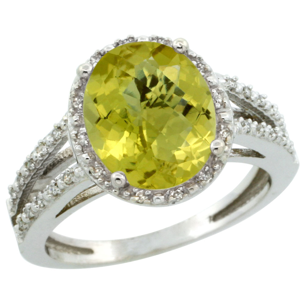10K White Gold Diamond Natural Lemon Quartz Ring Oval 11x9mm, sizes 5-10