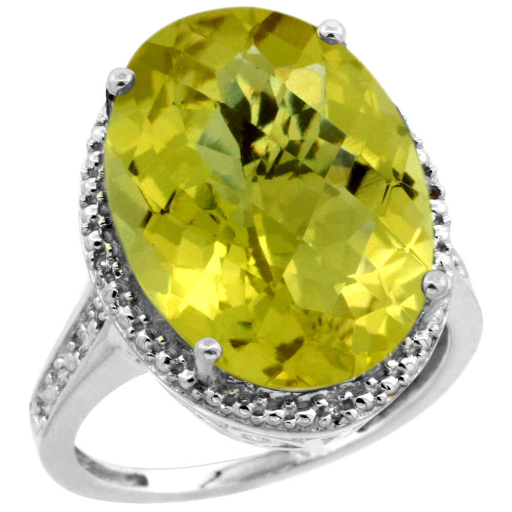 10K White Gold Diamond Natural Lemon Quartz Ring Oval 18x13mm, sizes 5-10