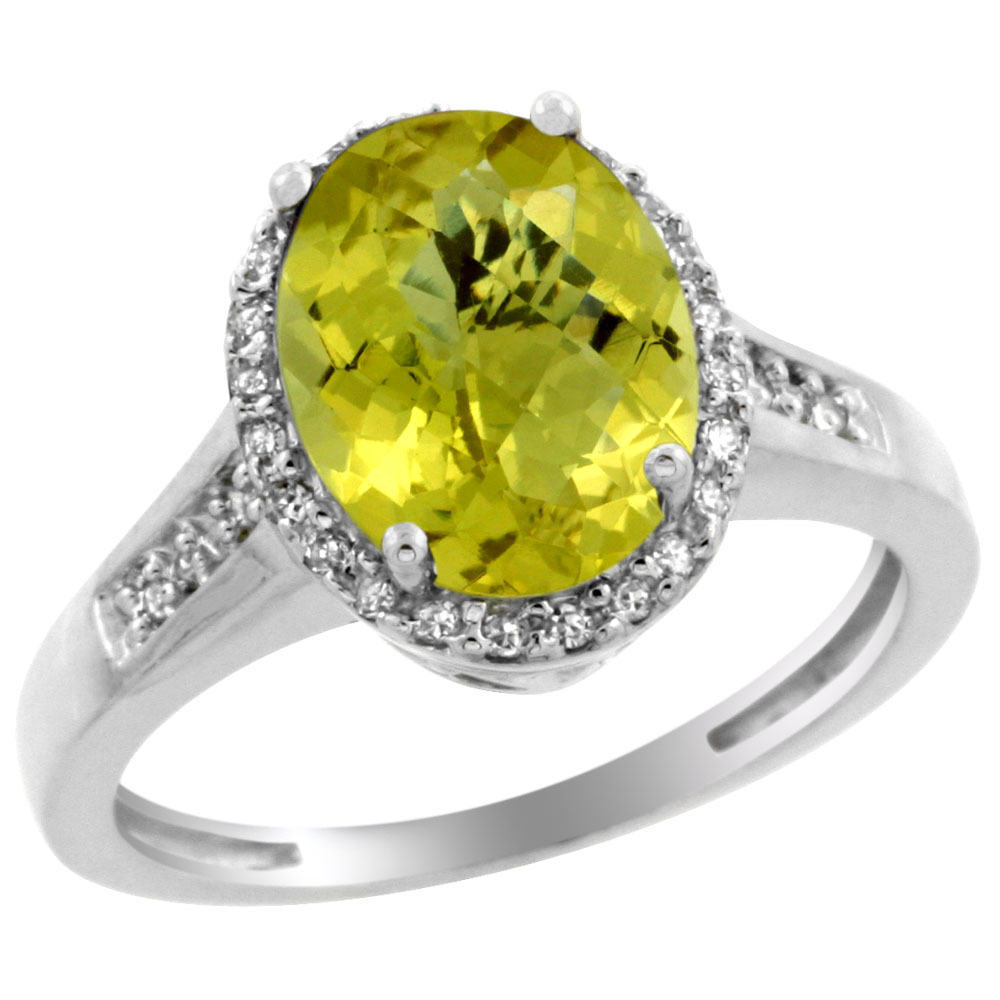 14K White Gold Diamond Natural Lemon Quartz Engagement Ring Oval 10x8mm, sizes 5-10