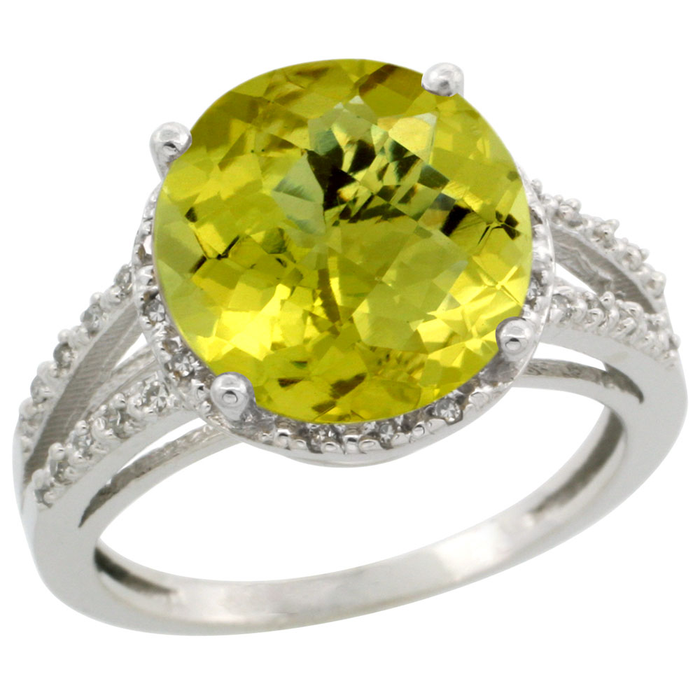14K White Gold Diamond Natural Lemon Quartz Ring Round 11mm, sizes 5-10