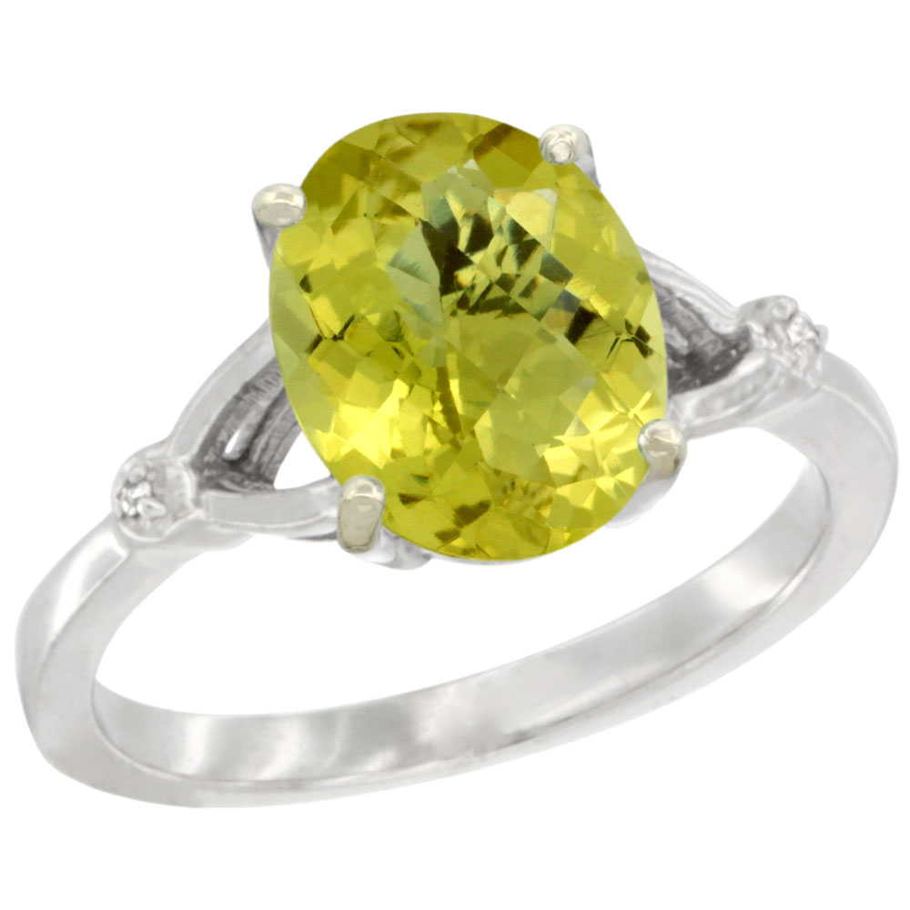 10K White Gold Diamond Natural Lemon Quartz Engagement Ring Oval 10x8mm, sizes 5-10