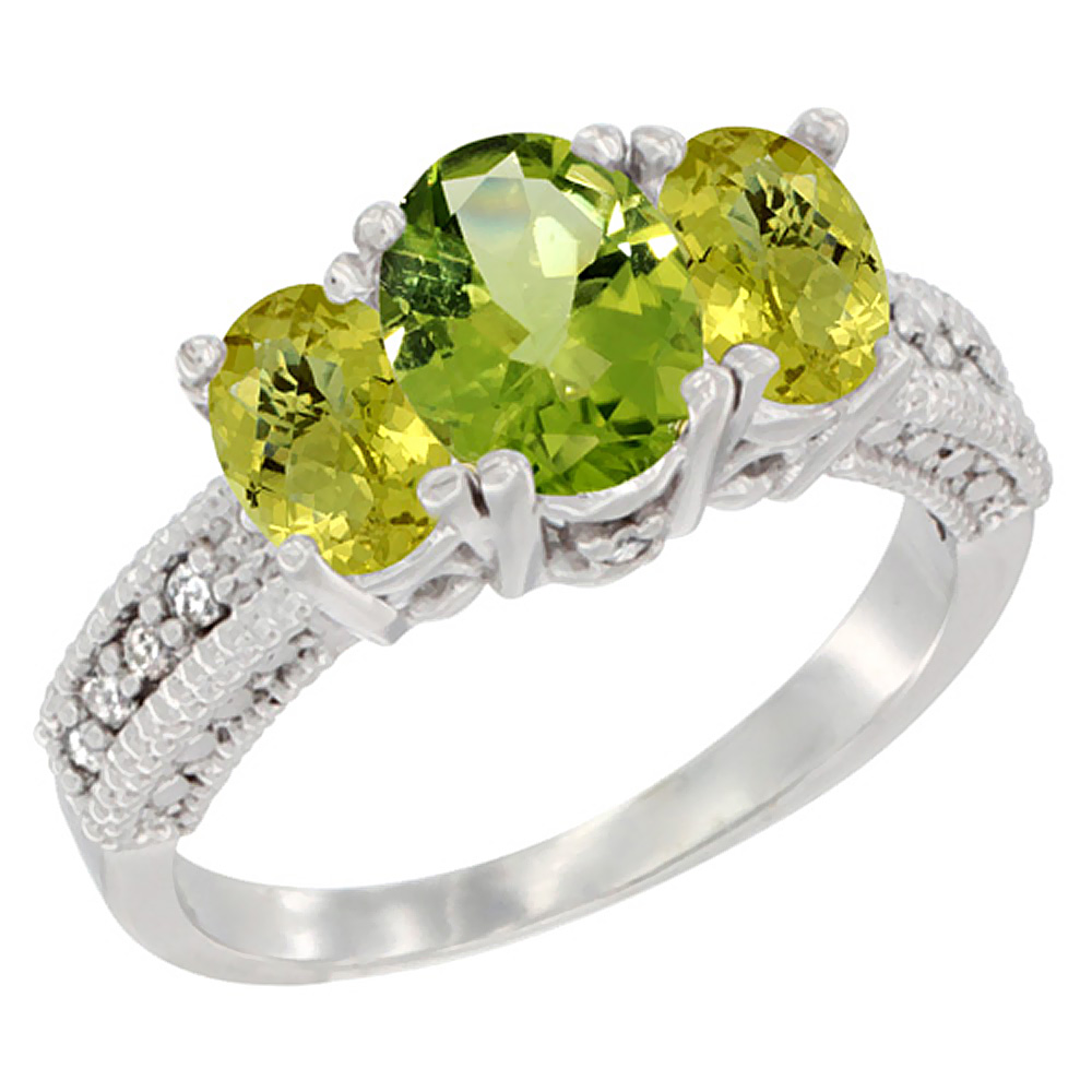 10K White Gold Diamond Natural Peridot Ring Oval 3-stone with Lemon Quartz, sizes 5 - 10