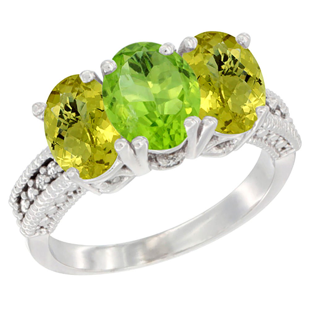 10K White Gold Diamond Natural Peridot & Lemon Quartz Ring 3-Stone 7x5 mm Oval, sizes 5 - 10
