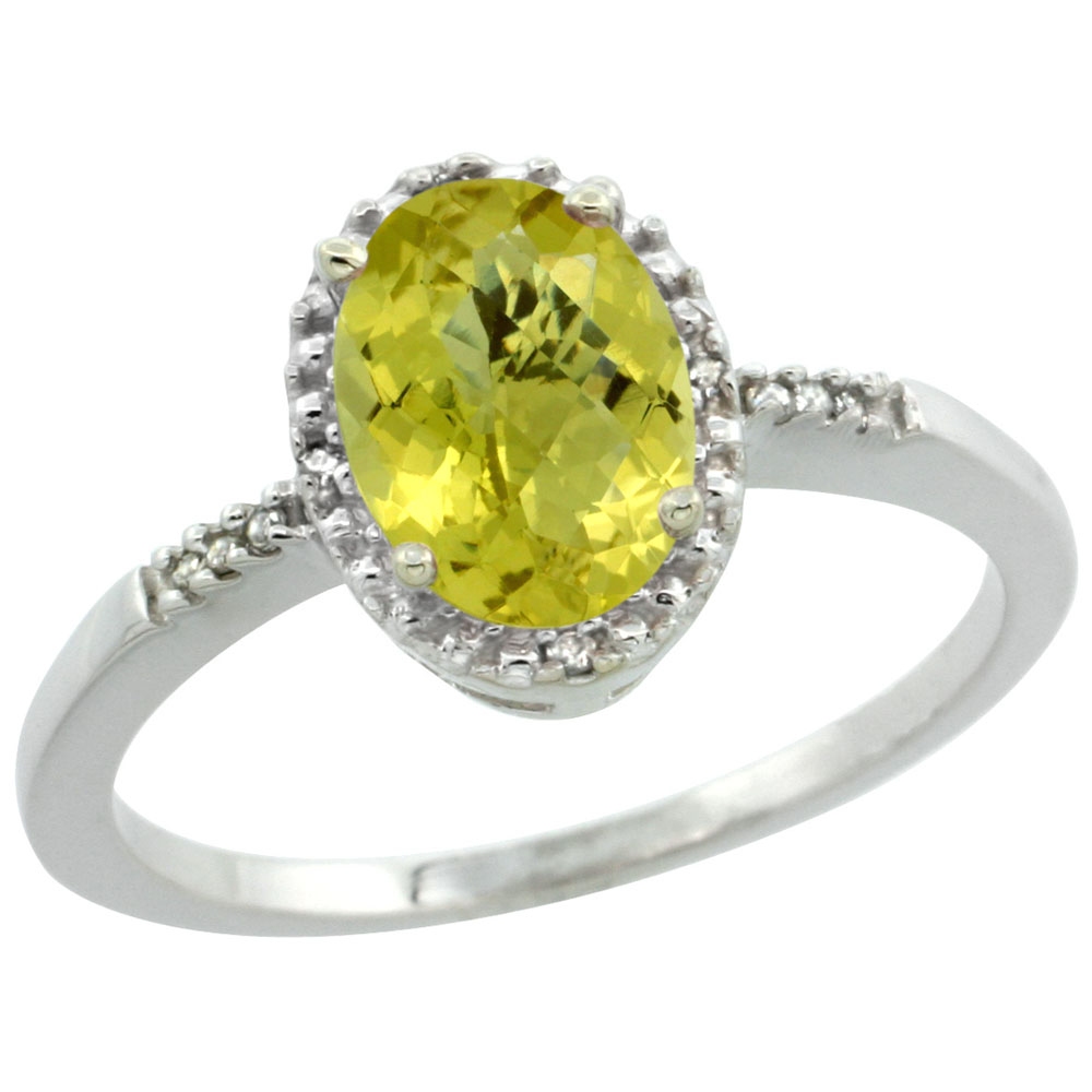 10K White Gold Diamond Natural Lemon Quartz Ring Oval 8x6mm, sizes 5-10