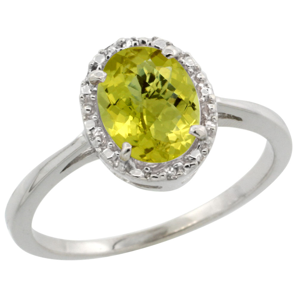 14K White Gold Natural Lemon Quartz Ring Oval 8x6 mm Diamond Halo, sizes 5-10