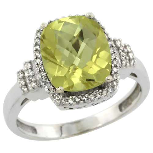 10k White Gold Natural Lemon Quartz Ring Cushion-cut 9x7mm Diamond Halo, sizes 5-10
