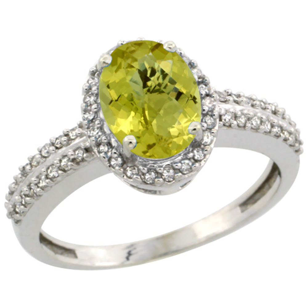 14K White Gold Natural Lemon Quartz Ring Oval 8x6mm Diamond Halo, sizes 5-10