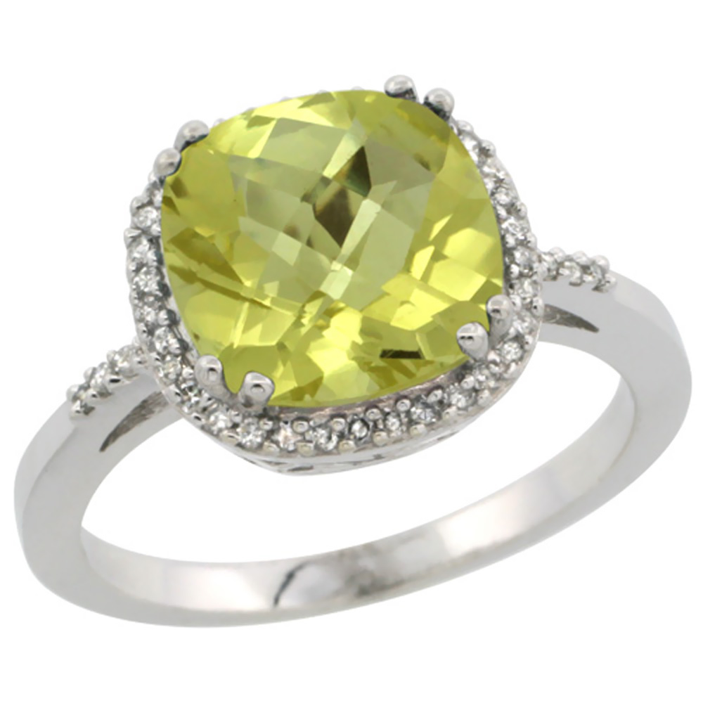 14K White Gold Diamond Natural Lemon Quartz Ring Cushion-cut 9x9mm, sizes 5-10