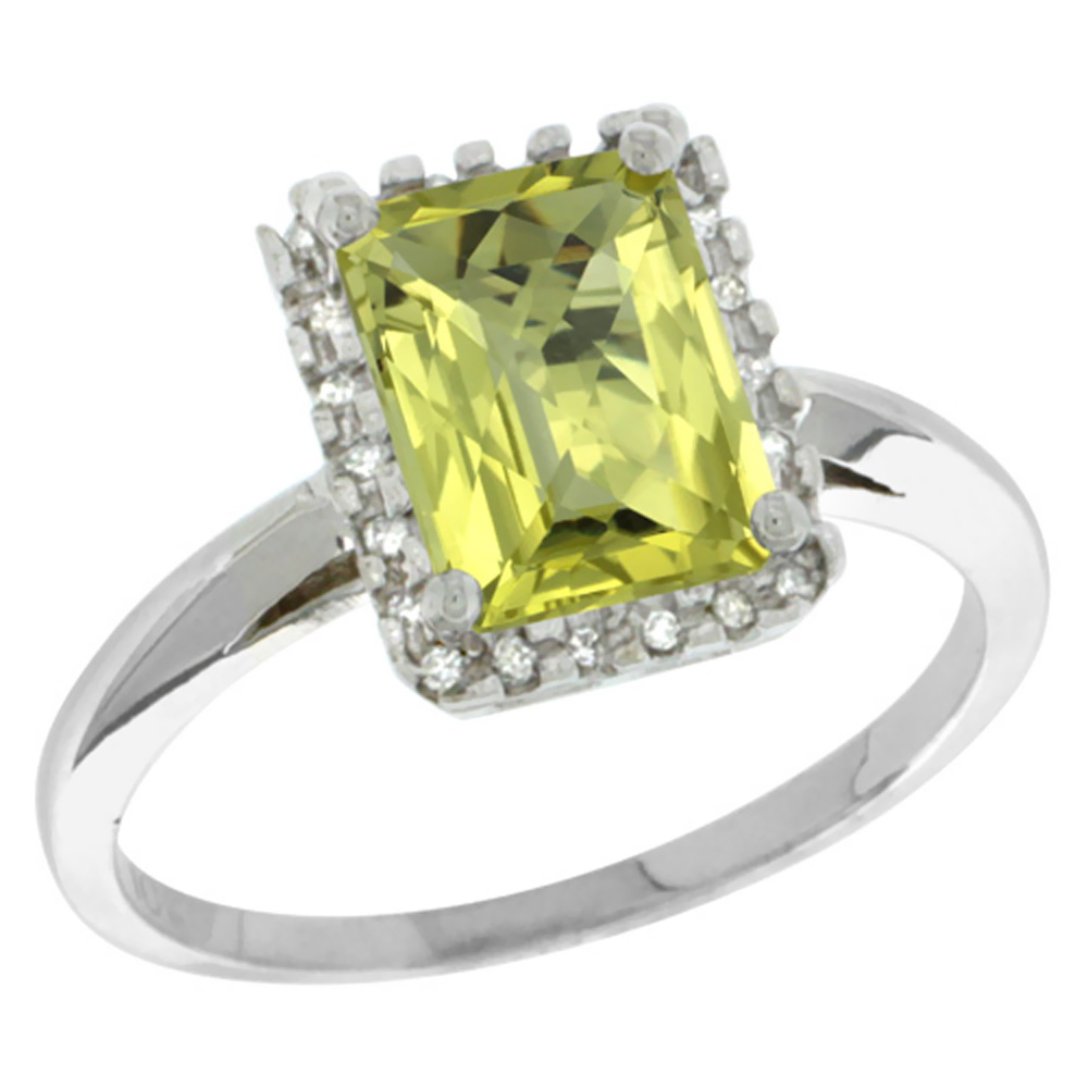 10K White Gold Diamond Natural Lemon Quartz Ring Emerald-cut 8x6mm, sizes 5-10