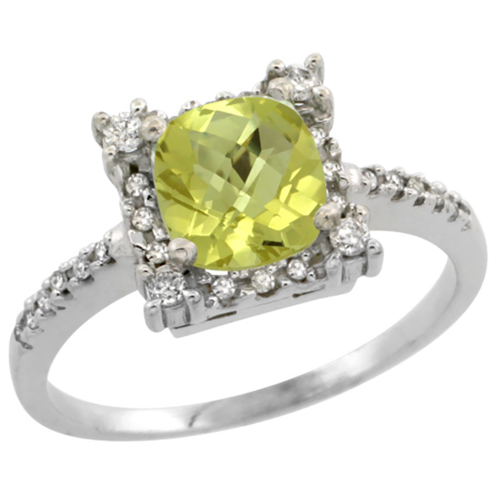 14K White Gold Natural Lemon Quartz Ring Cushion-cut 6x6mm Diamond Halo, sizes 5-10