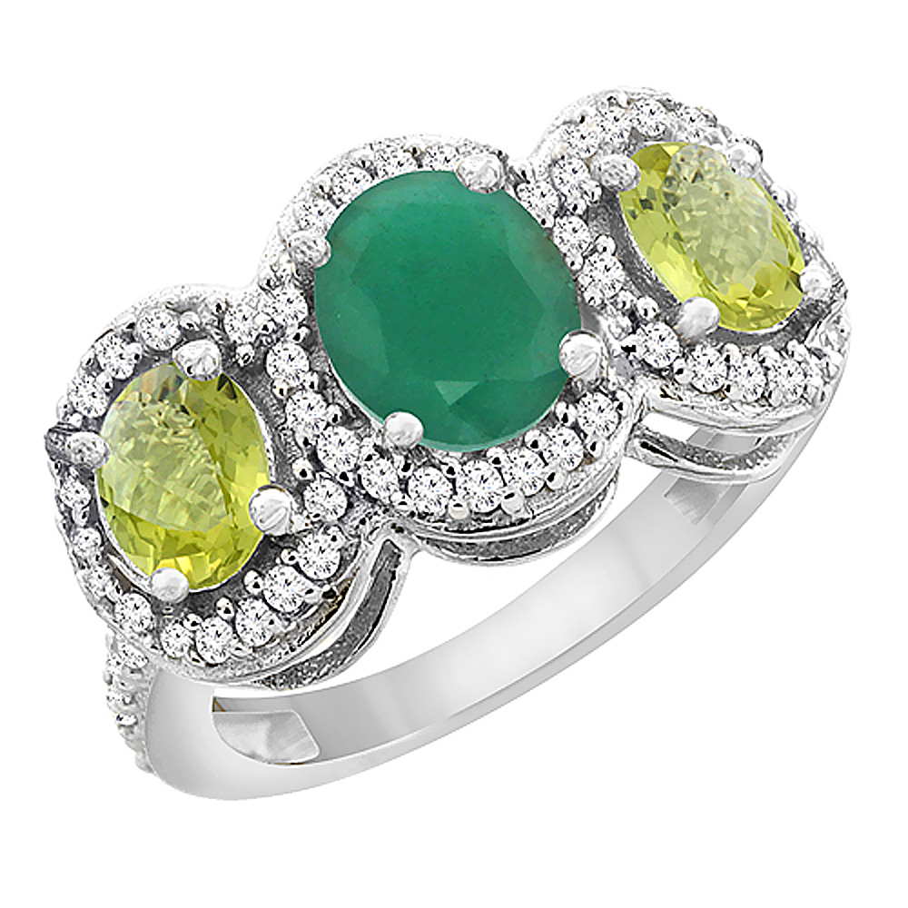 14K White Gold Natural Cabochon Emerald & Lemon Quartz 3-Stone Ring Oval Diamond Accent, sizes 5 - 10