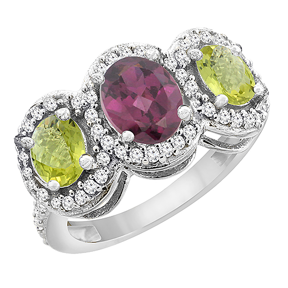 10K White Gold Natural Rhodolite & Lemon Quartz 3-Stone Ring Oval Diamond Accent, sizes 5 - 10