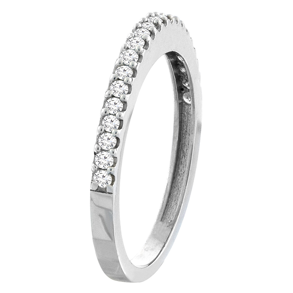 10K White Gold Diamond Wedding Band Ring Half Eternity, sizes 5 - 10
