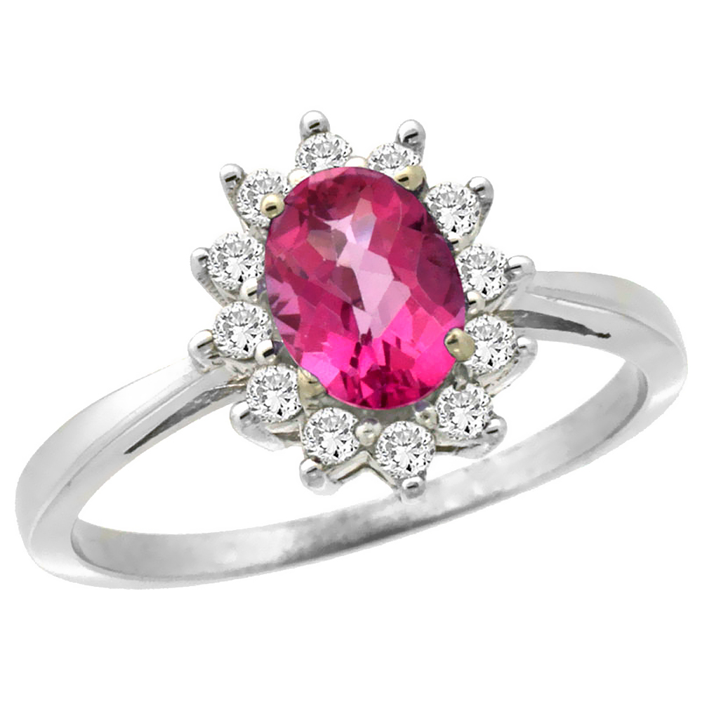 14K White Gold Natural Pink Sapphire Engagement Ring Oval 7x5mm Diamond Halo, sizes 5-10