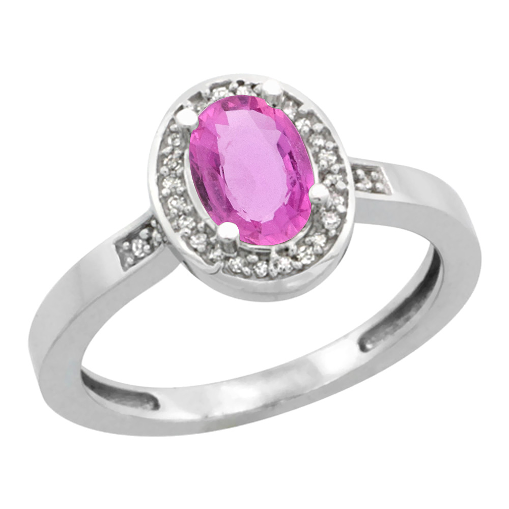 Sterling Silver Diamond Natural Pink Sapphire Ring Oval 7x5 mm, sizes 5-10