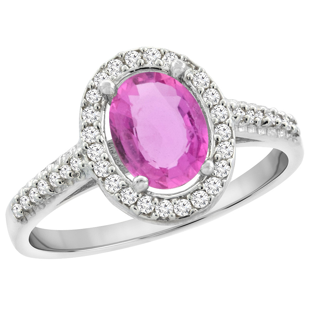 10K White Gold Natural Pink Sapphire Engagement Ring Oval 7x5 mm Diamond Halo, sizes 5 - 10