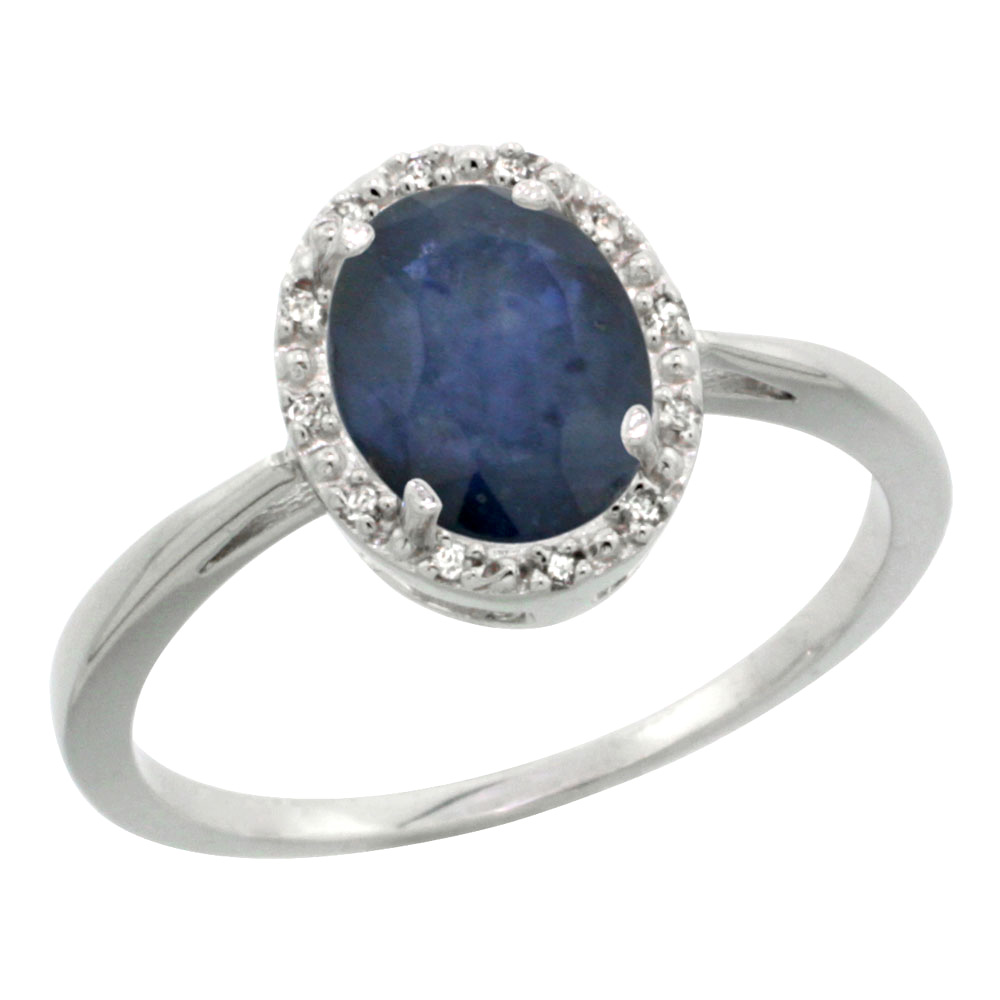 Sterling Silver Natural Australian Sapphire Diamond Halo Ring Oval 8x6 mm, sizes 5 10