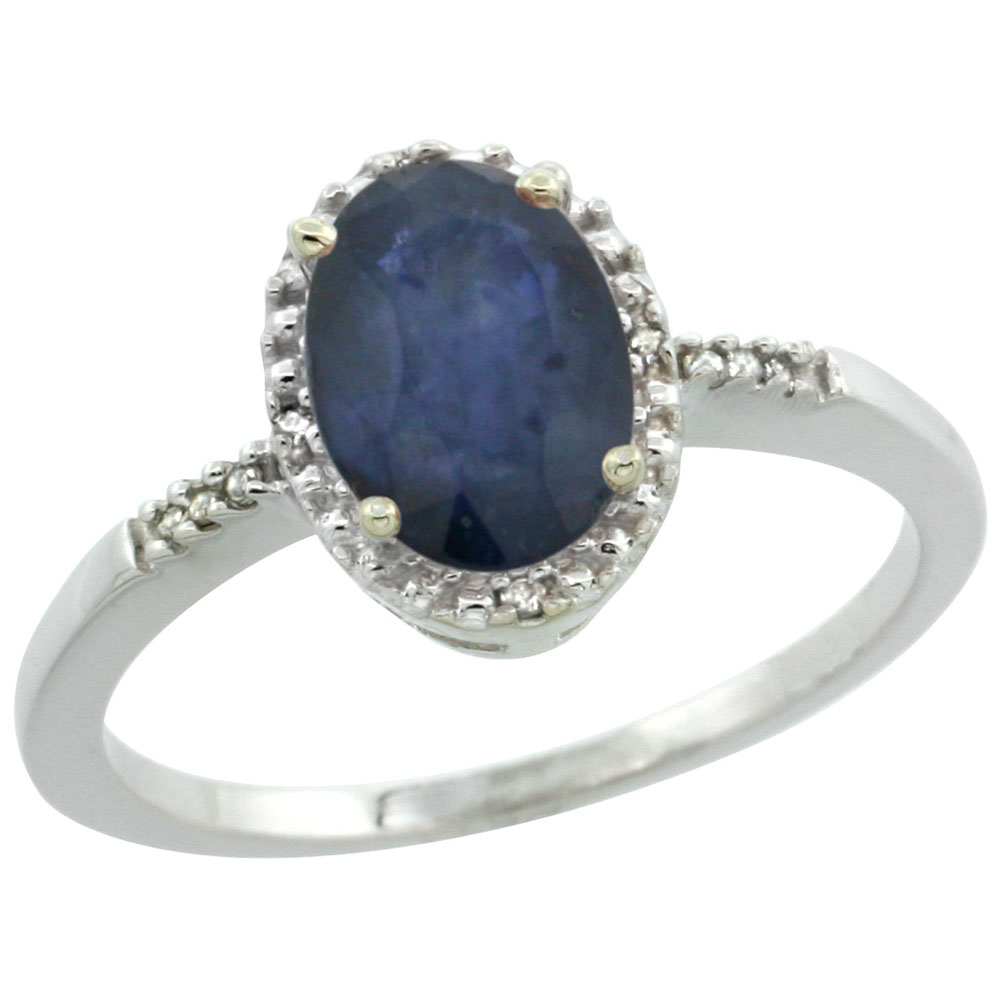 Sterling Silver Diamond Natural Australian Sapphire Ring Oval 8x6 mm, sizes 5-10