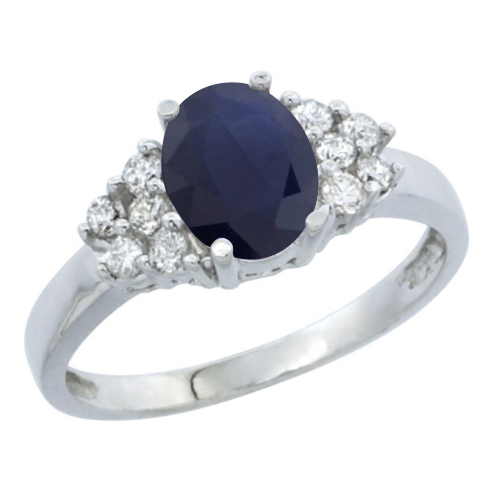 10K White Gold Natural Australian Sapphire Ring Oval 8x6mm Diamond Accent, sizes 5-10