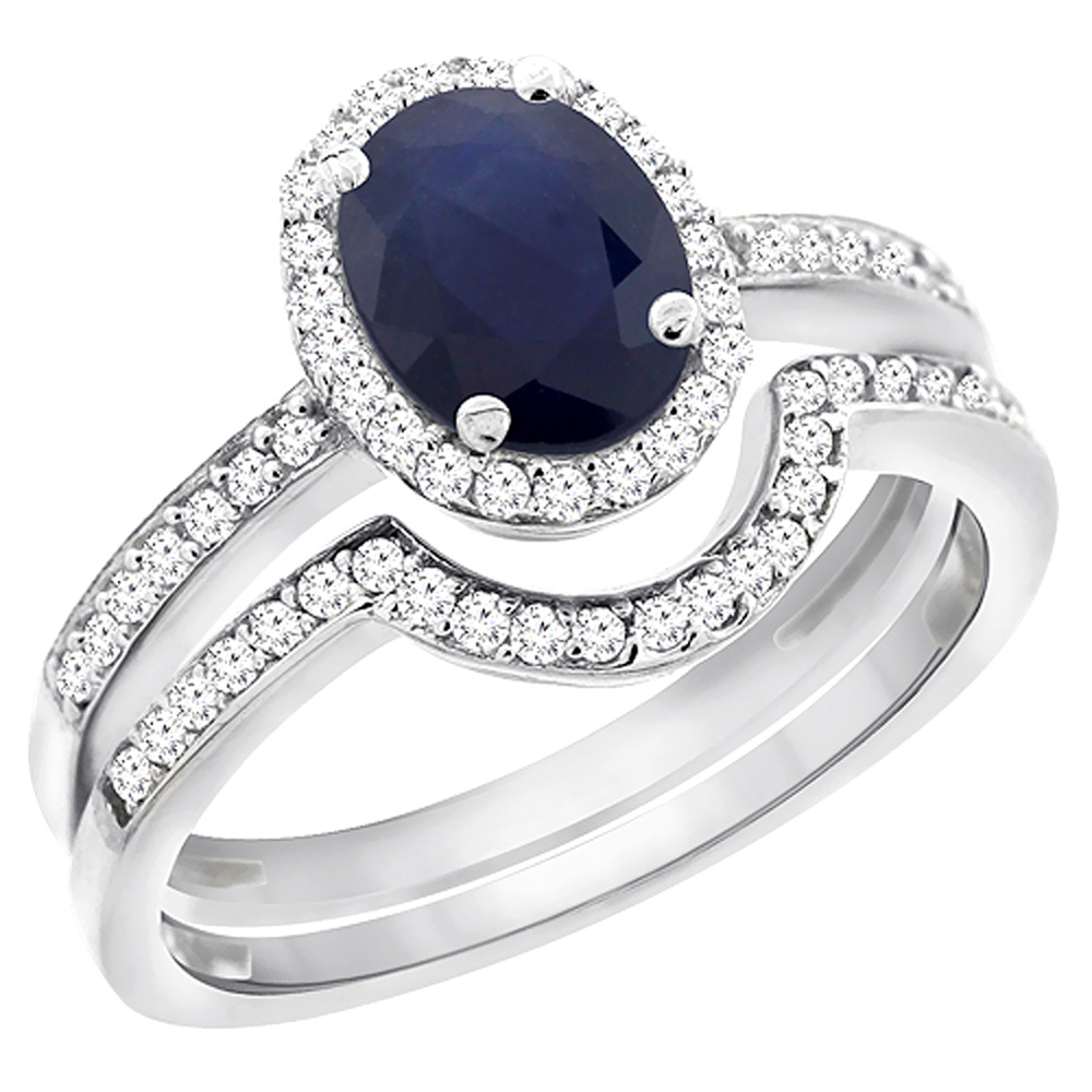 10K White Gold Diamond Natural Australian Sapphire 2-Pc. Engagement Ring Set Oval 8x6 mm, sizes 5 - 10
