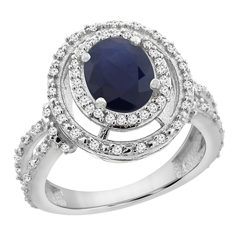10K White Gold Natural Australian Sapphire Ring Oval 8x6 mm Double Halo Diamond, sizes 5 - 10