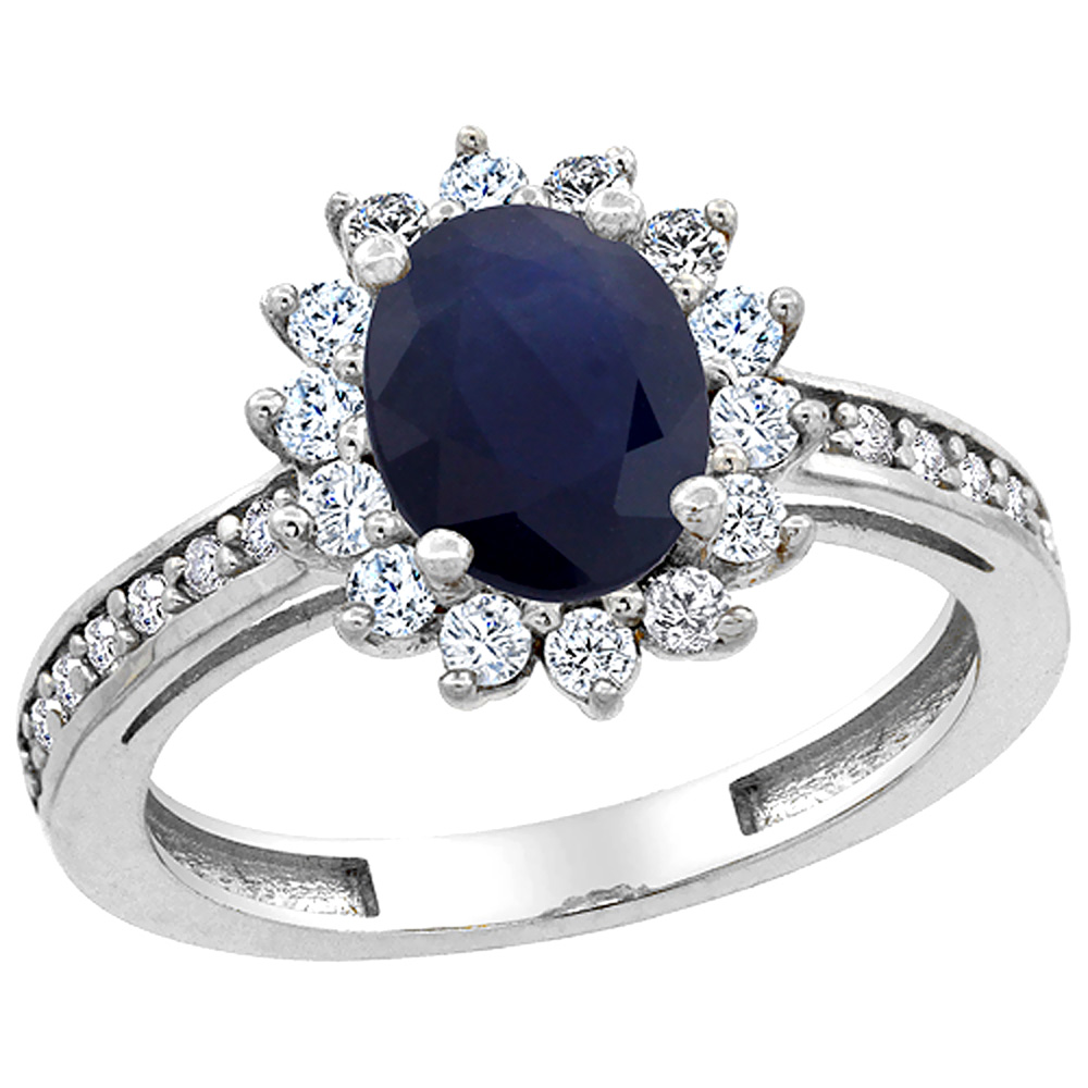 10K White Gold Natural Australian Sapphire Floral Halo Ring Oval 8x6mm Diamond Accents, sizes 5 - 10