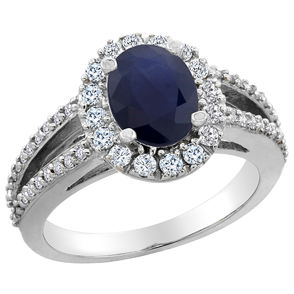 10K White Gold Natural Australian Sapphire Halo Ring Oval 8x6 mm with Diamond Accents, sizes 5 - 10