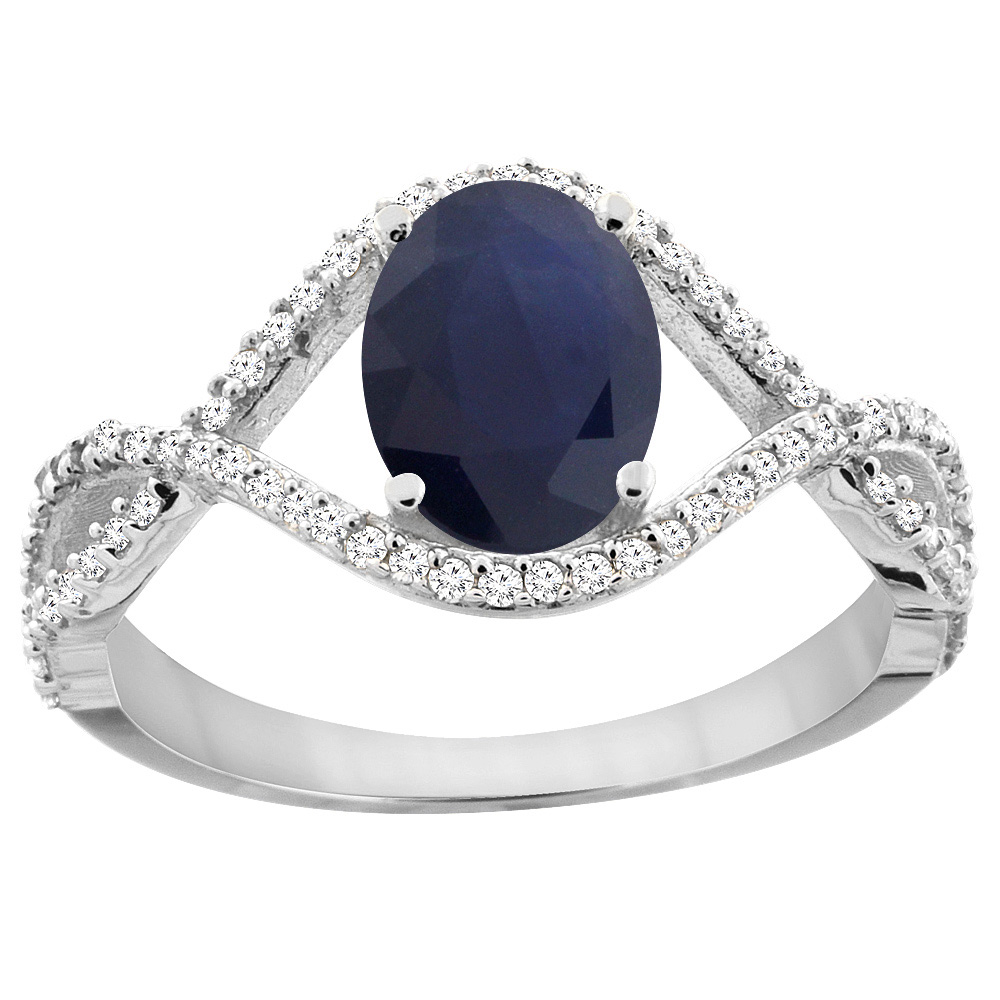 10K White Gold Natural Australian Sapphire Ring Oval 8x6 mm Infinity Diamond Accents, sizes 5 - 10