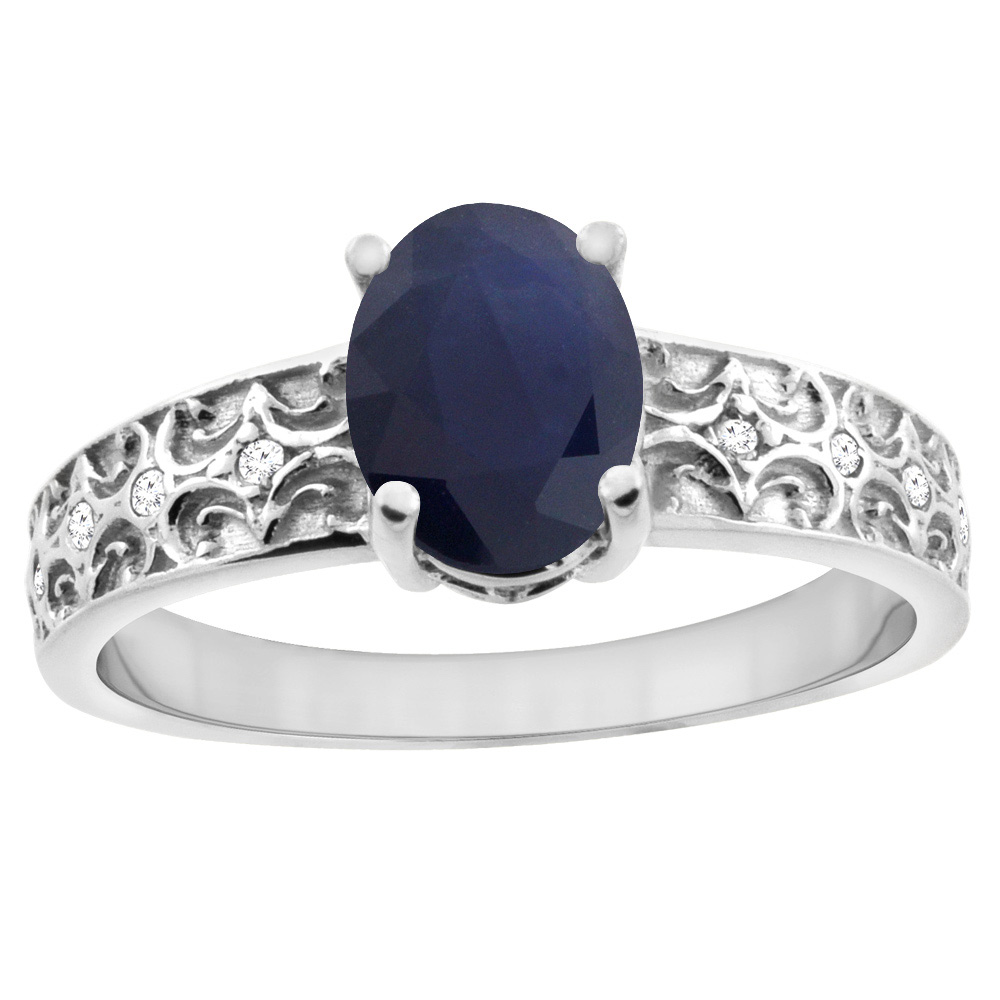 10K White Gold Natural Australian Sapphire Ring Oval 8x6 mm Diamond Accents, sizes 5 - 10