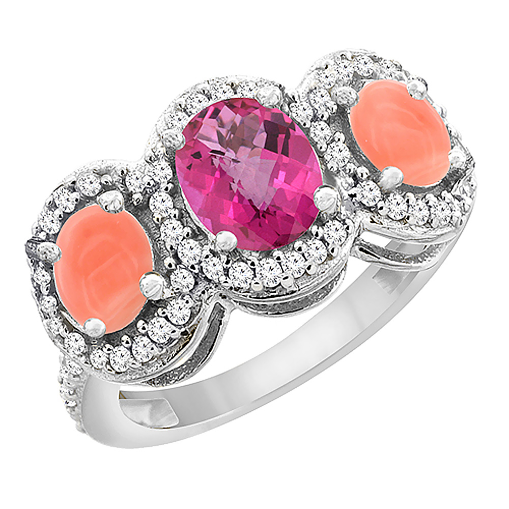 14K White Gold Natural Pink Sapphire & Coral 3-Stone Ring Oval Diamond Accent, sizes 5 - 10