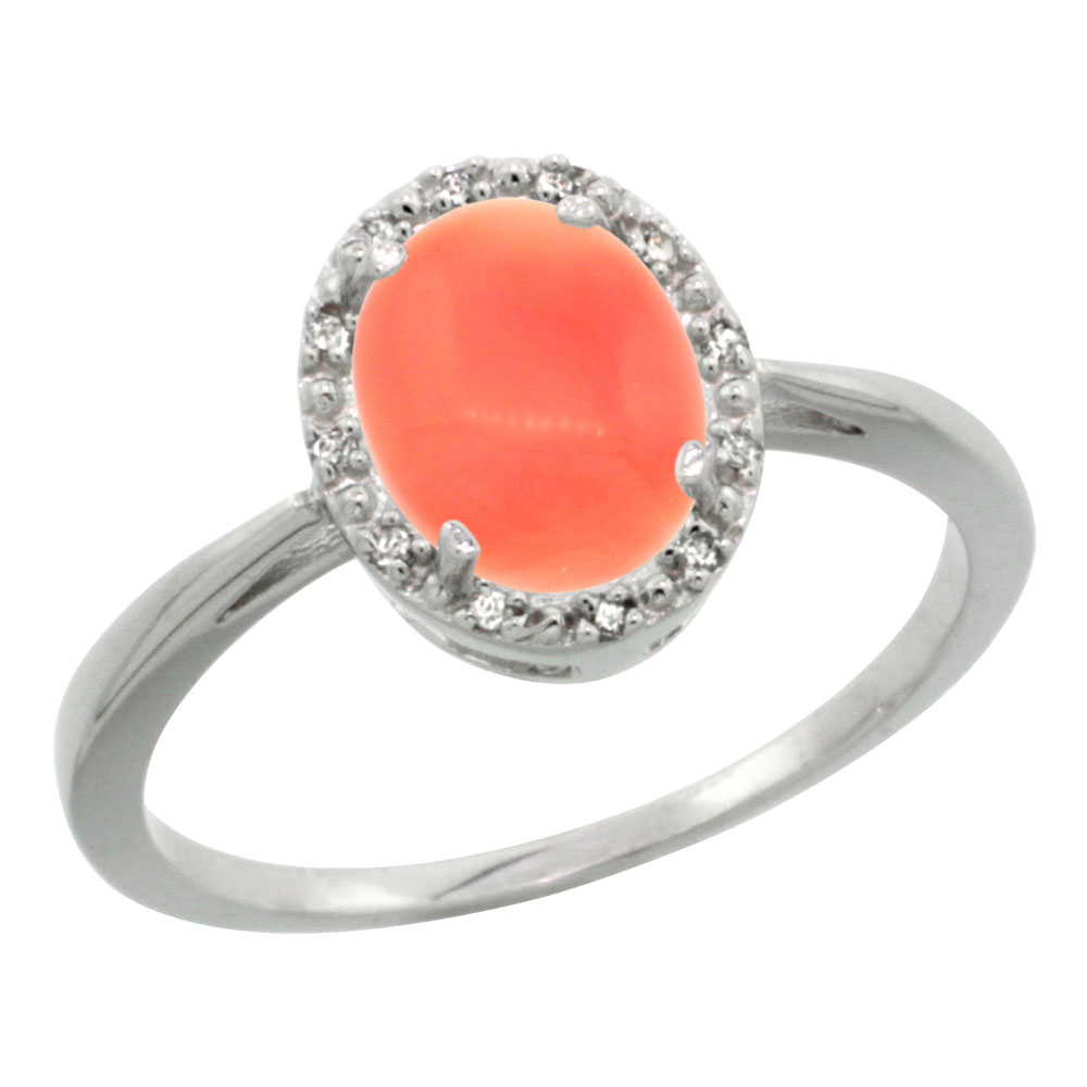 14K White Gold Natural Coral Diamond Halo Ring Oval 8X6mm, sizes 5 10