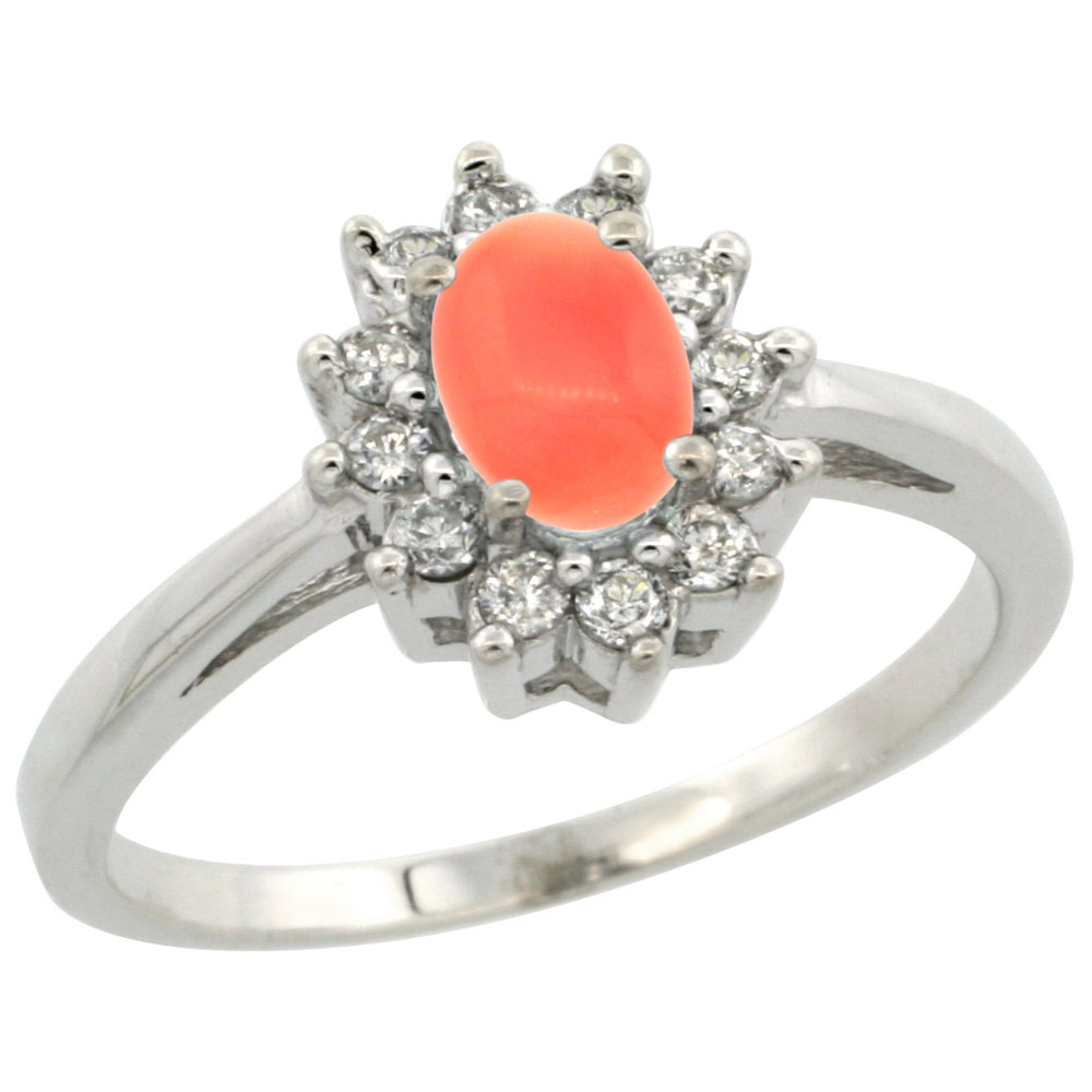 14K White Gold Natural Coral Flower Diamond Halo Ring Oval 6x4 mm, sizes 5 10