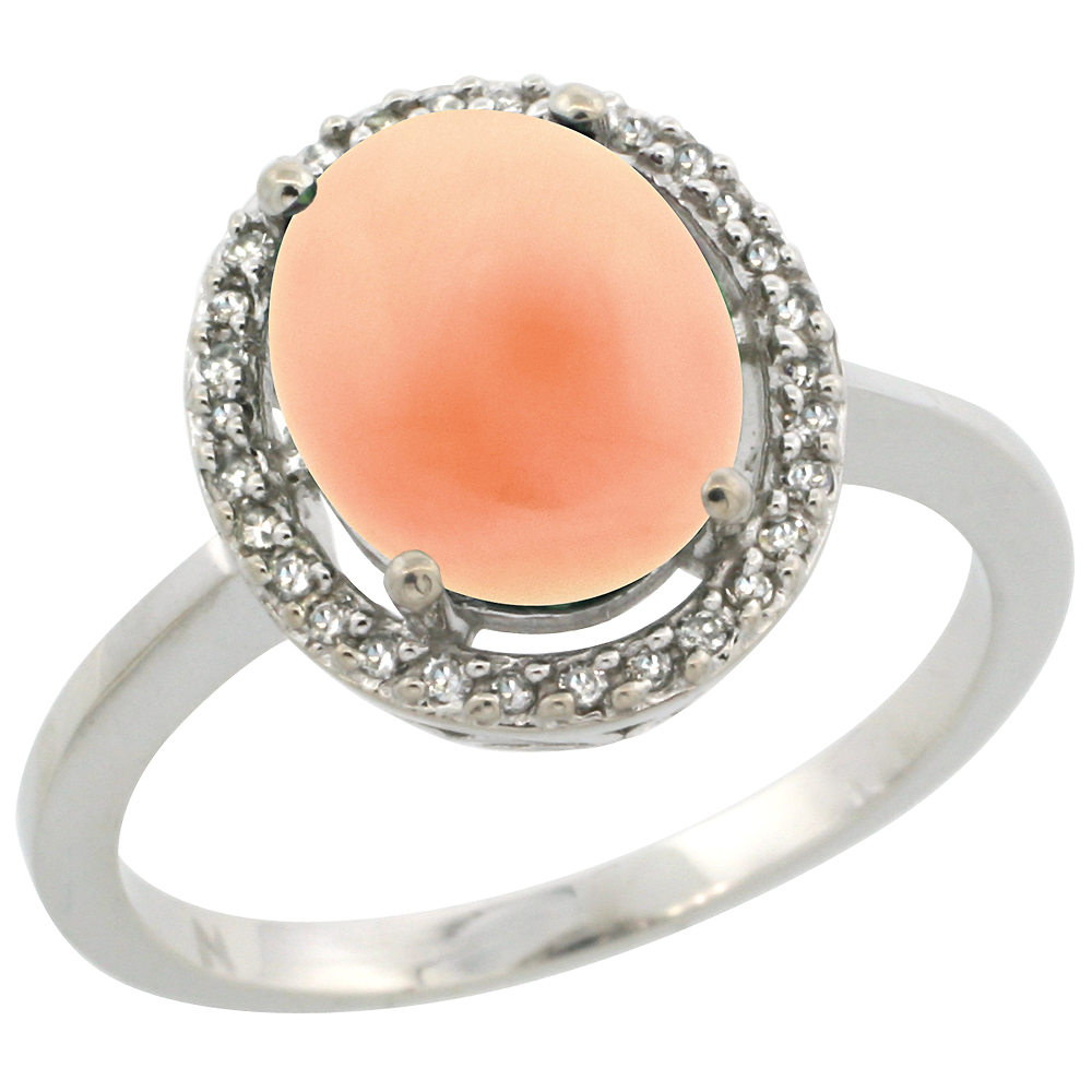 10K White Gold Diamond Halo Natural Coral Engagement Ring Oval 10x8 mm, sizes 5 10