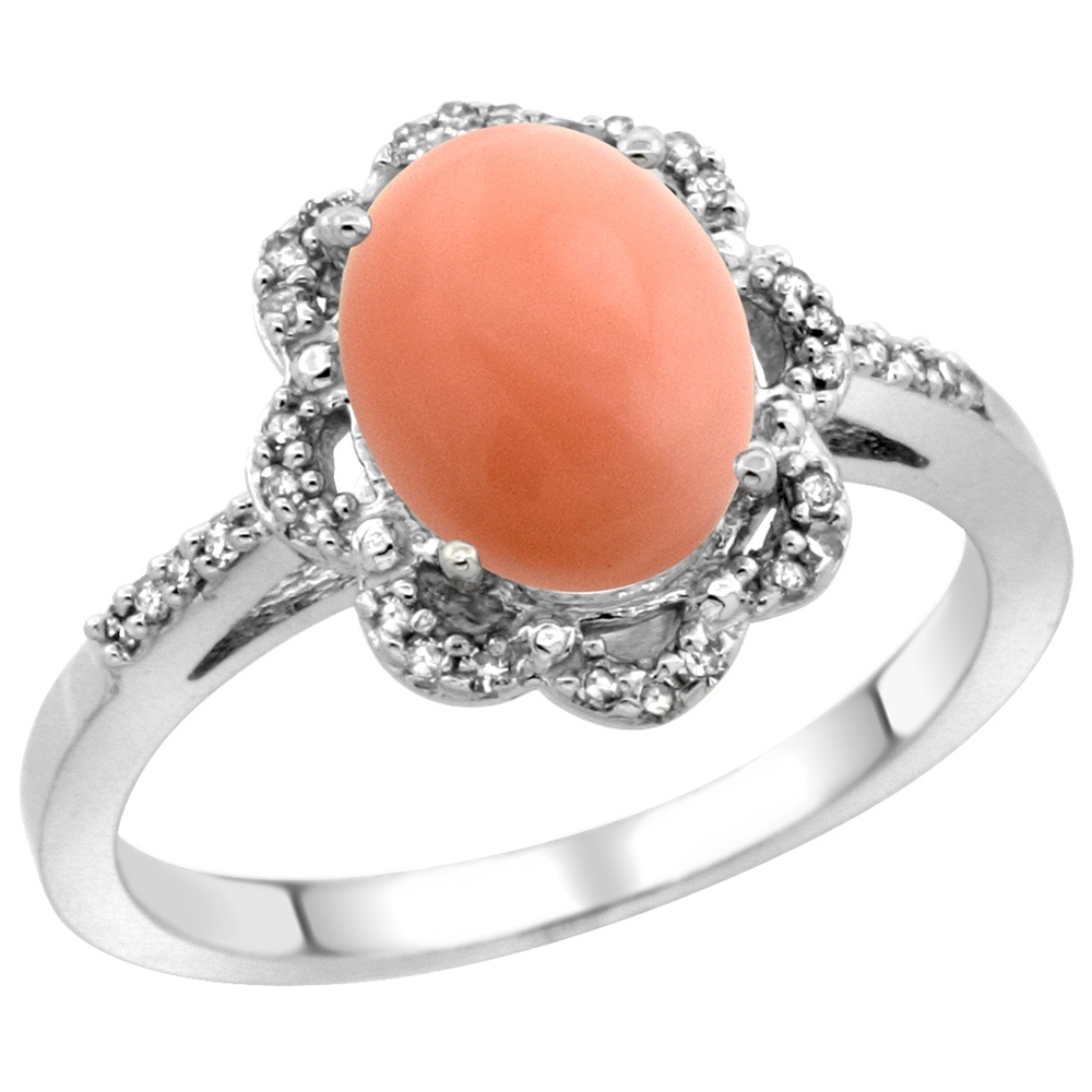 10K White Gold Diamond Halo Natural Coral Engagement Ring Oval 9x7mm, sizes 5-10