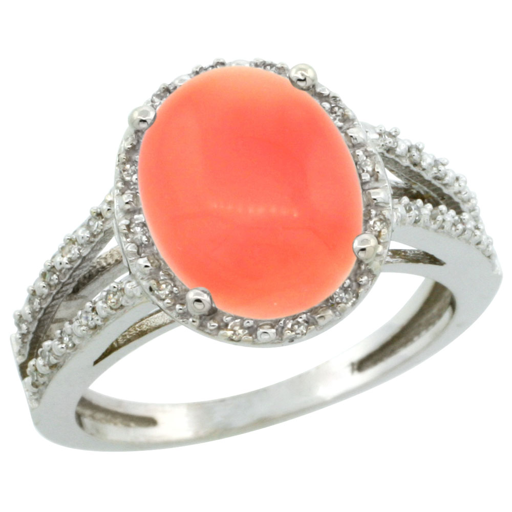 10K White Gold Diamond Natural Coral Ring Oval 11x9mm, sizes 5-10