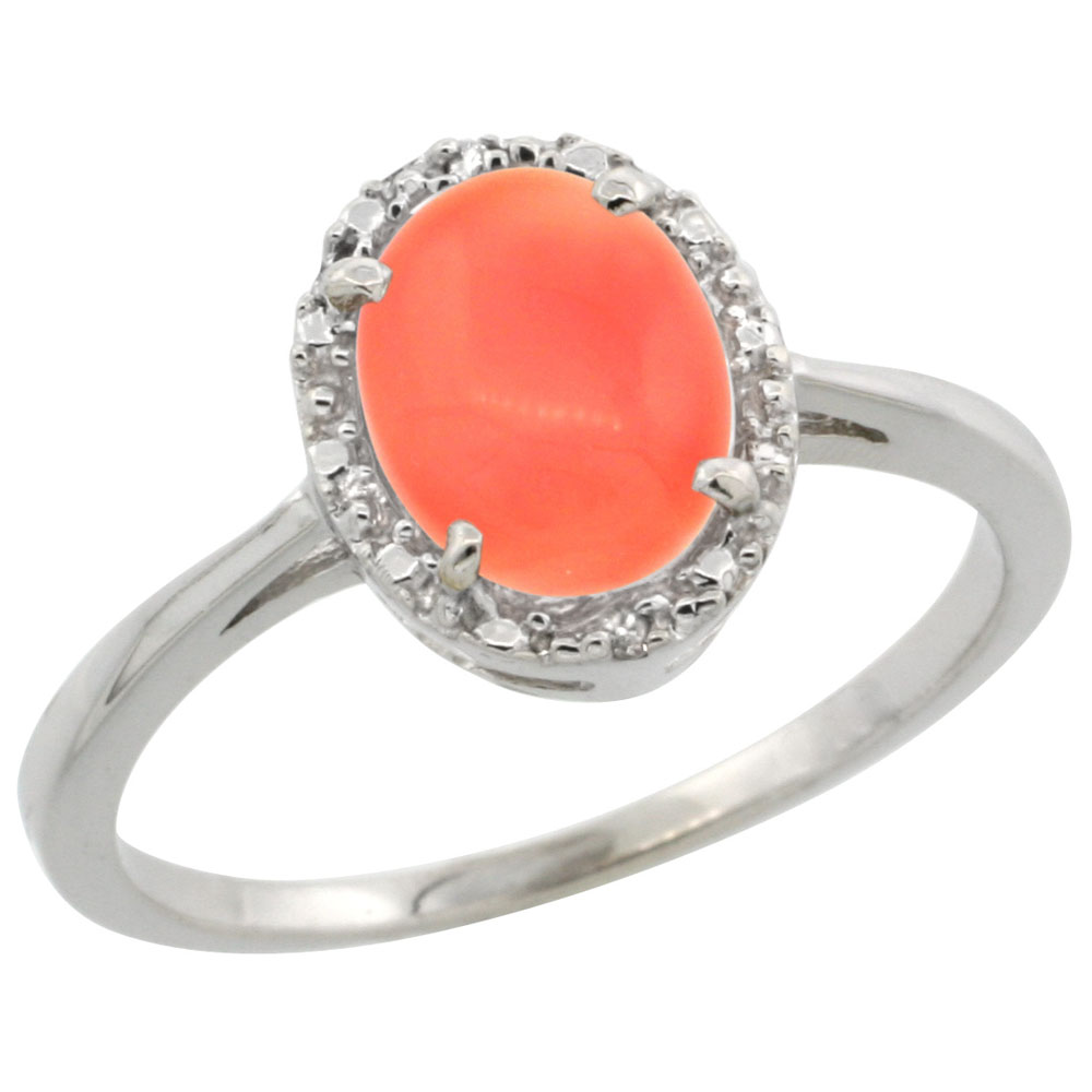 10k White Gold Natural Coral Ring Oval 8x6 mm Diamond Halo, sizes 5-10