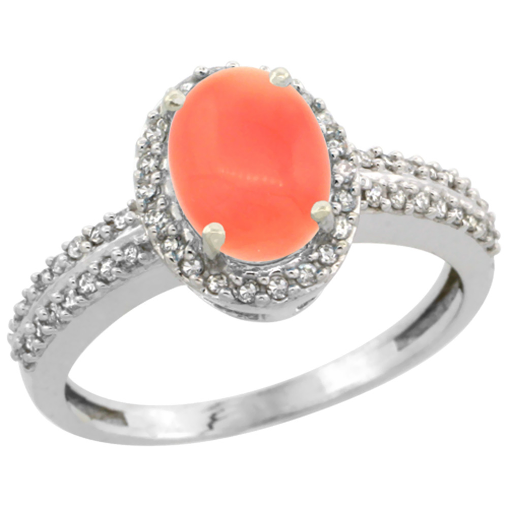 14K White Gold Natural Coral Ring Oval 8x6mm Diamond Halo, sizes 5-10