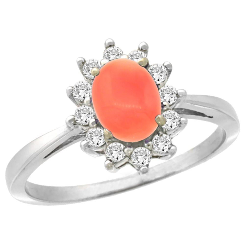 10k White Gold Natural Coral Engagement Ring Oval 7x5mm Diamond Halo, sizes 5-10